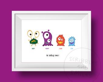 Monster family - home decor  - wall art - family wall art - personalised wall art - children's wall art