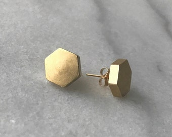 Simple gold stud hexagon earrings, Geometric Earrings, Minimalist earrings, Gift for her