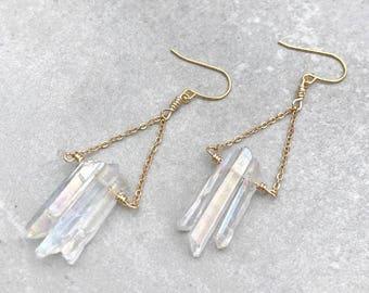 Aura quartz earrings, Crystal quartz earrings, Raw crystal earrings, Bridesmaid earrings, Wife jewelry gift for her