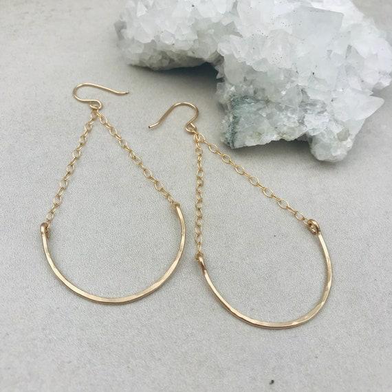 Gold teardrop earrings, 14k gold filled earrings, drop earrings, statement earrings, handmade earrings