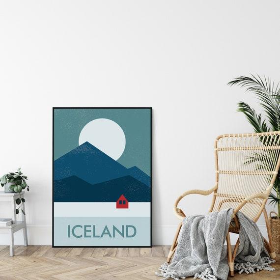 Hygge Mid-Century Art Print Nordic Modernist Design. Minimalist Travel Poster Print Iceland