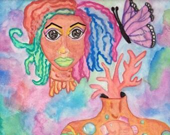 Headless Sea Girl - Original Painting - Creepy Cute - Tattooed Girl - Half Dead Girl - Sea Creature Art - Dark Fantasy Art
