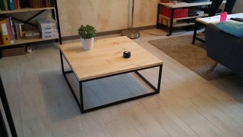 Basse Style Et Industriel Bois Table Carrée Fer 80OnkNXZwP