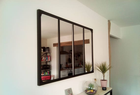 miroir style verri re industrielle 100 x 120 cm etsy. Black Bedroom Furniture Sets. Home Design Ideas