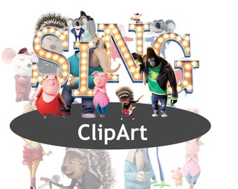 16 Sing ClipArt - Digital , PNG, image, picture,  oil painting, drawing,llustration, art , birthday,handicraft