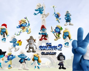 12 Smurfs ClipArt - Digital , PNG, image, picture,  oil painting, drawing,llustration, art , birthday,handicraft