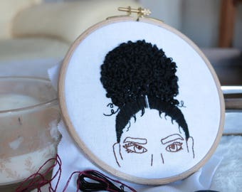 Embroidered Hoop Black Girl Magic Hair Minimalistic Cross Etsy
