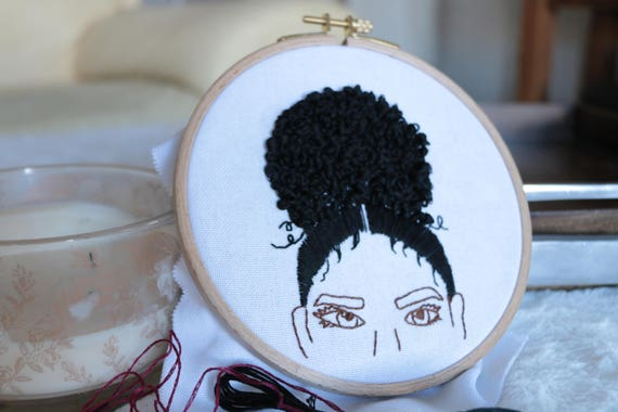 Embroidered Hoop Black Girl Magic Curly Hair Minimalistic Etsy