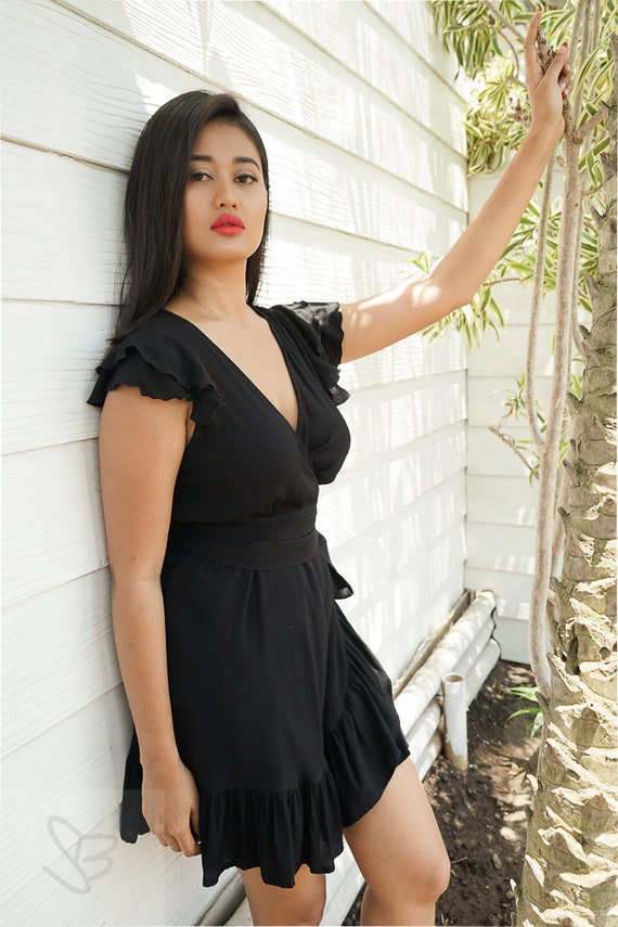 Mini Black Wrap Dress Casual Womens Dress Kimono Dress Etsy