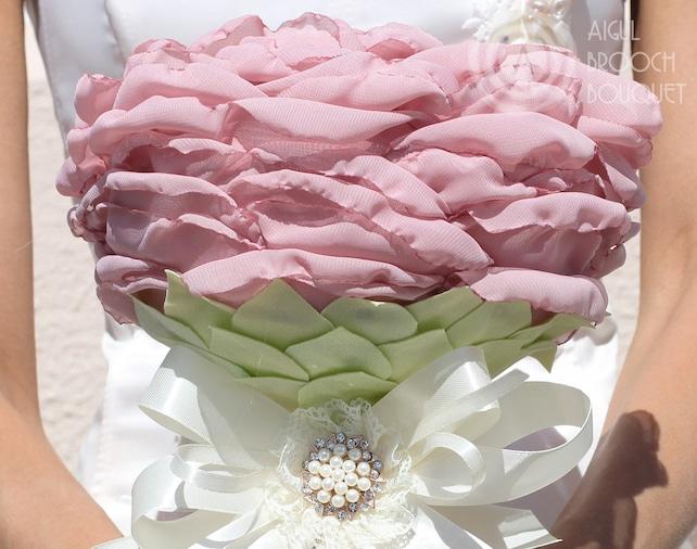 Giant Chiffon Fabric Rose Bridal Bouquet Blush Pink Silk Big | Etsy