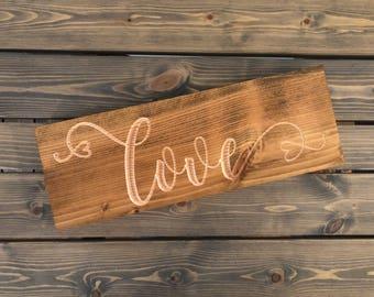 Carved Love Sign - Love Sign - Wood Love Sign - Love Sign for Shelf - Bedroom Room Decor -  Bookshelf Wooden Block - Block Love Sign