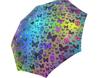 Rainbow Skulls & Butterflies, Foldable Umbrella, Rain gear, Cool Umbrella's, Butterfly Design, fun Umbrellas