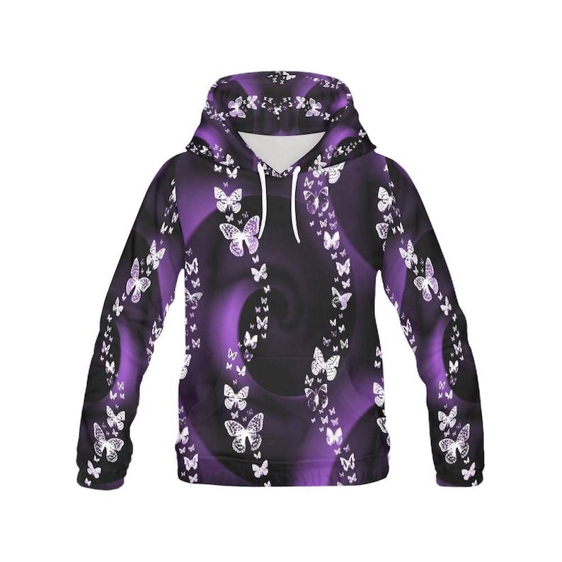 Purple Butterfly Swirl, All Over Print Hoodie for Women, ladies hoodie,  hoodies, Butterfly Clothing