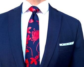 Red and Navy Floral Tie
