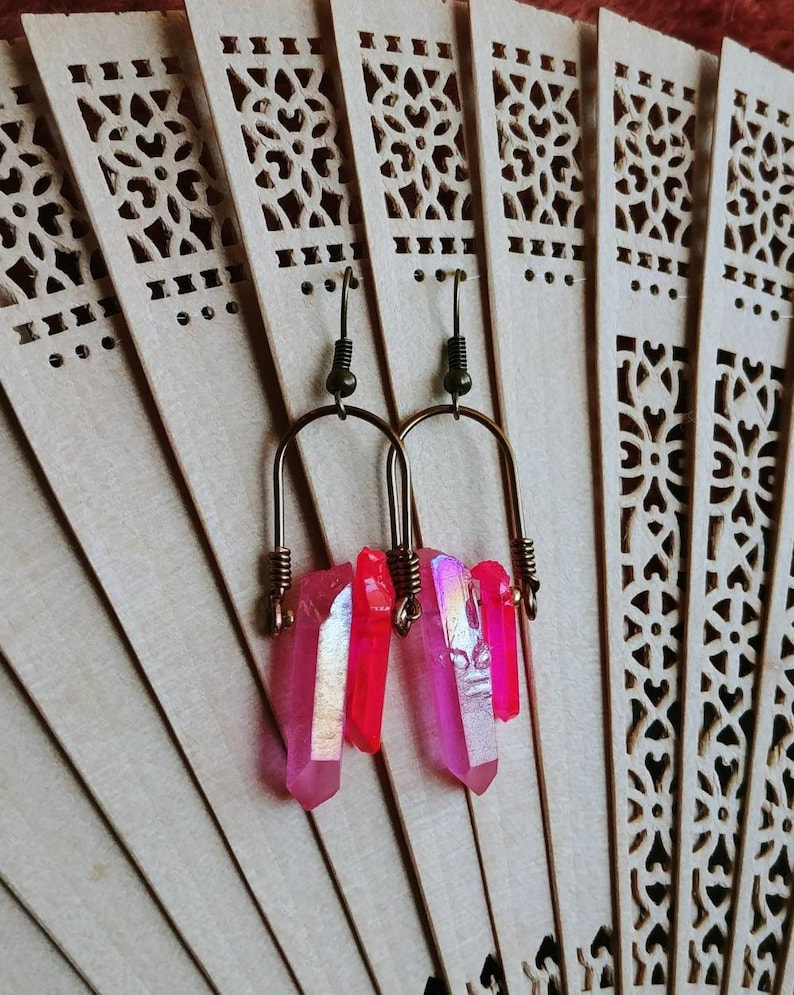 Iridescent Pink Quartz Crystal Point Earrings in Antique Brass