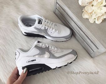Bling Nike Air Max 90 Shoes in White with Classic Clear Swarovski Crystals 9f6e209507