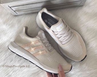 Women s Adidas Swift Run Casual Shoes with Rose Gold Swarovski Crystals on  Stripes f600c613a