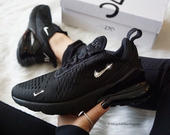 Swarovski Nike Air Max 270 All Black Sneakers in Silver Swarovski Crystals ef8ee4afe
