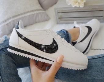 best cheap 583b9 efe94 Swarovski Nike Cortez Shoes Blinged with Jet Black Swarovski Crystals