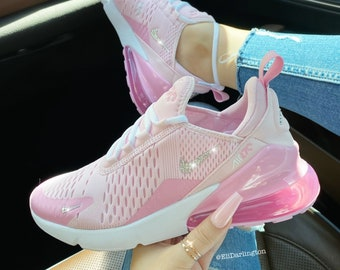 Swarovski Bling Pink Nike Air Max 270 Shoes in Silver Swarovski Crystals