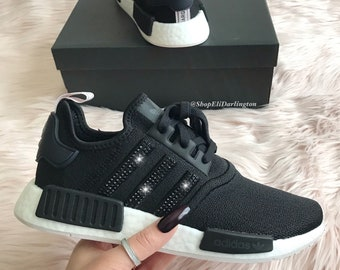0db129c0d45e4 Women s Adidas NMD Shoes with Jet Black Swarovski Crystals on Stripes