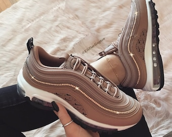 9e3a9ddf3a3 Swarovski Crystals Custom Nike Air Max 97 Desert Dust Sneakers Embellished  with Rose Gold Swarovski Crystals