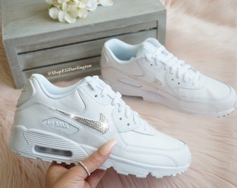 outlet store sale 1455f 7c91a Bling Nike Air Max 90 Shoes in White with Classic Clear Swarovski Crystals