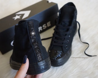 723d89ea067ea9 Custom Converse Chuck Taylor High Top Shoes Customized with Jet Black  Swarovski