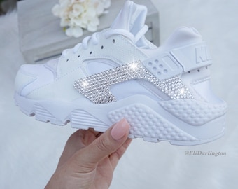 Bling Nike Huarache Sneakers with Silver Swarovski Crystals 14f9b0c49