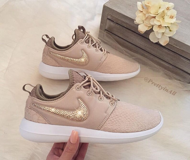 77876fc0d572 Bling Nike Roshe Two SE Oatmeal Shoes with Rose Gold Swarovski