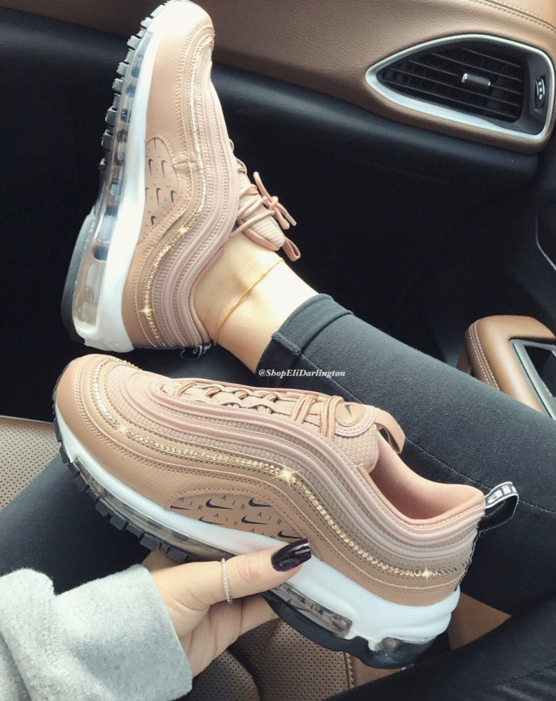 4b7c8f1cc476a Swarovski Crystals Custom Nike Air Max 97 Desert Dust Sneakers Embellished  with Rose Gold Swarovski Crystals