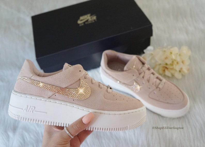 Custom Swarovski Nike Air Force 1 Sage Low Sneakers with Rose | Etsy