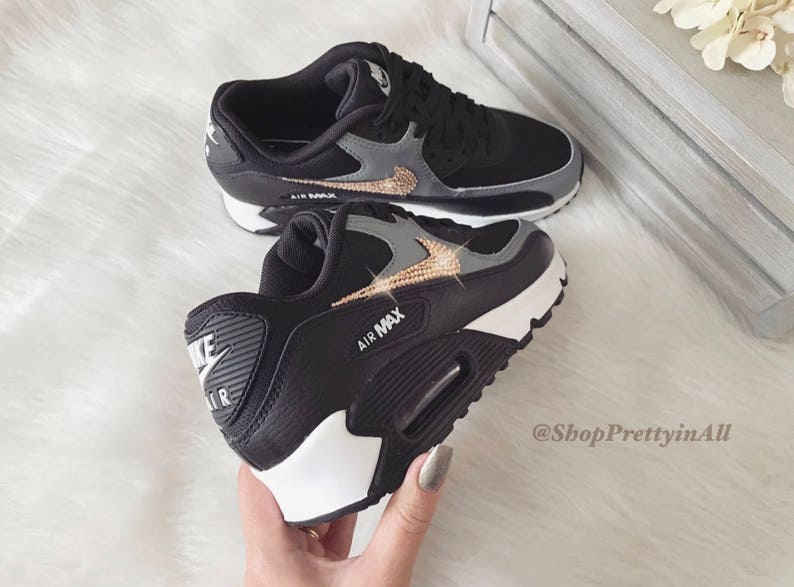 02ccf3e0fa32f Bling Nike Air Max 90 Shoes in Black Cool Gray with Rose Gold Swarovski  Crystals