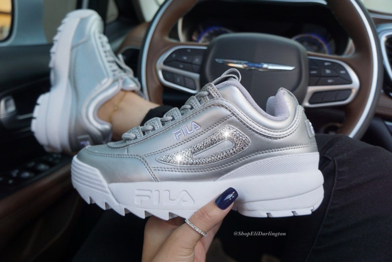 8c684d0255f1 Swarovski Bling Fila Disruptor II Shoes Embellished with Cleaf