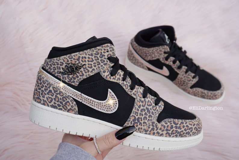 new lifestyle low price shoes for cheap Bling Nike Air Jordan 1 Mid SE 1 Leopard Sneakers with Rose | Etsy