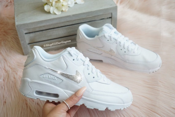 Custom Women's, Youth Nike Air Max 90 Shoes in White with Classic Clear Swarovski Crystals