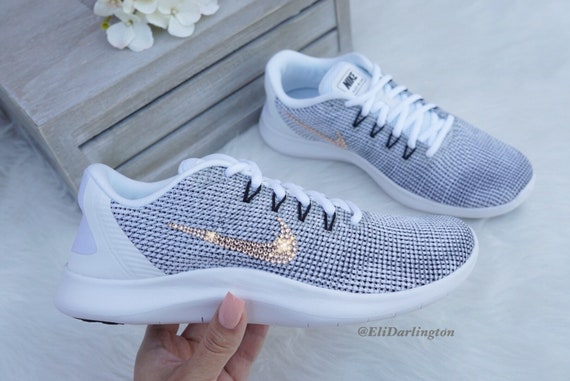 competitive price affd0 dc3db Bling Nike Flex 2018 Sneakers with Rose Gold Swarovski Crystals