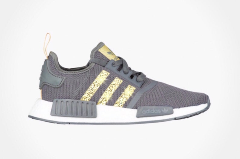new concept 0bbe2 0560f Women's Adidas NMD R1 Shoes with Gold Swarovski Crystals on Stripes