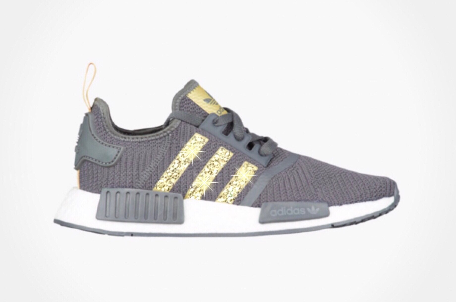 new concept e9179 bf759 Women's Adidas NMD R1 Shoes with Gold Swarovski Crystals on Stripes