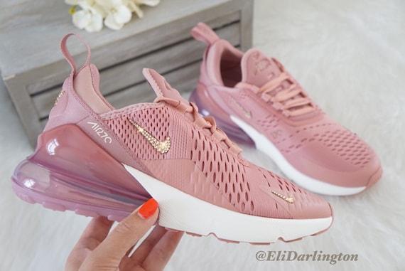 Swarovski Bling Nike Air Max 270 Shoes in Rose Gold Swarovski Crystals