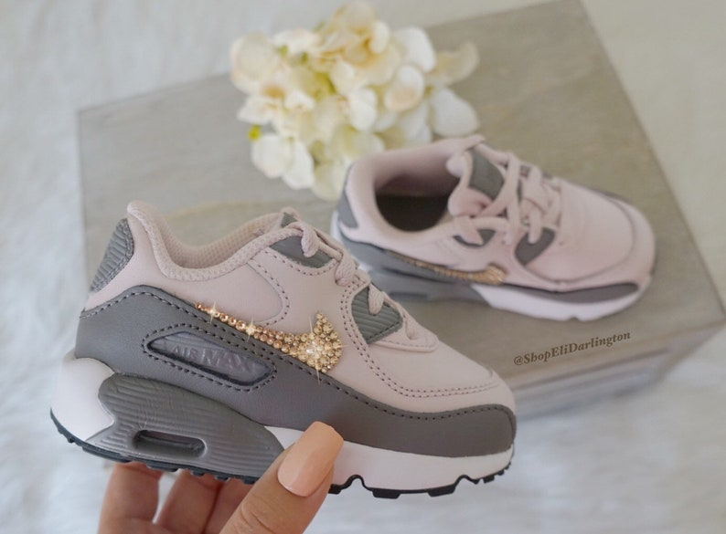 502e8c477319 Bling Nike Air Max 90 Kids Shoes with Rose Gold Swarovski