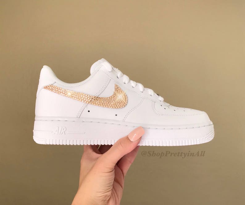 new style 6c014 c6802 Bling Nike Air Force 1 Sneakers with Rose Gold Swarovski   Etsy