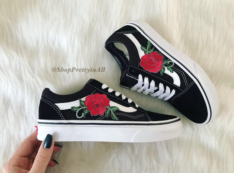 b2115ac617e SALE Custom Vans Old Skool Red Rose Appliqué Embroidered