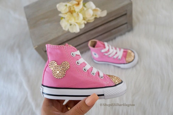 Avec Or Blinged Chuck Customisés Mouse Swarovski Haute Rose Disney Top Mickey Taylor Converse Chaussures 7F7WvgRq