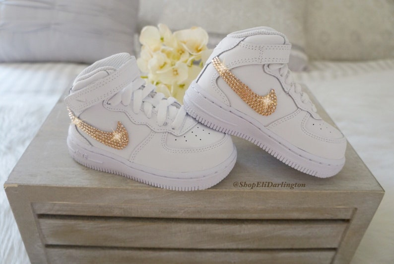 6657dd788336a Nike Air Force 1 Kid's Sneakers with Rose Gold Swarovski Crystals