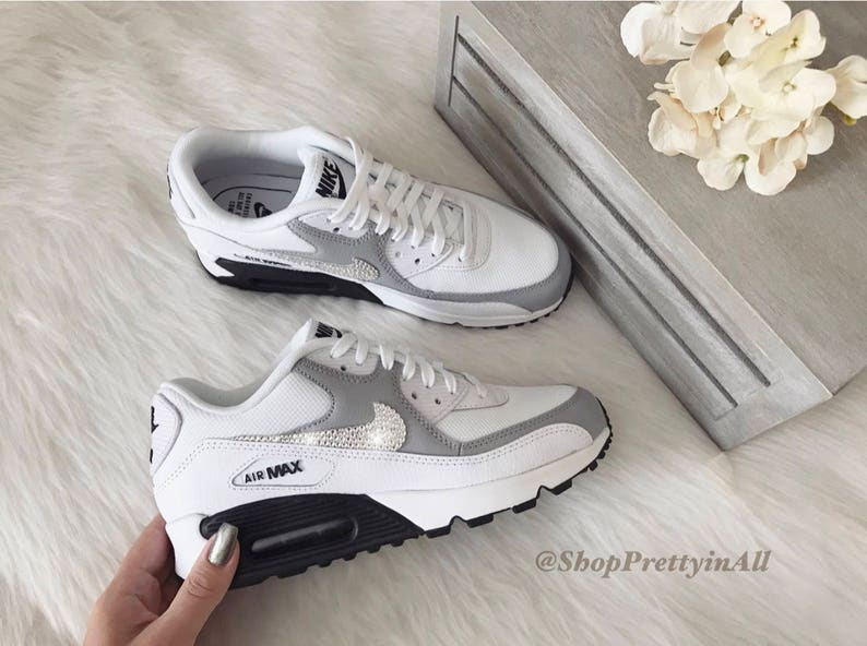 7108877fbf9c Bling Nike Air Max 90 Shoes in White with Classic Clear
