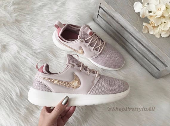 save off 28bb8 35afc Bling Nike Roshe Two Shoes with Rose Gold Swarovski Crystals In Silt Red  Stardust