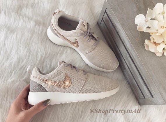 Bling Nike Roshe One Shoes in Light Owewood Brown with Rose  b81e6e6954