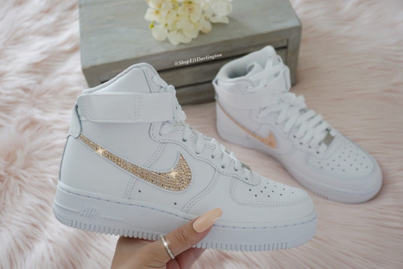 Bling Nike Air Force 1 Sneakers with Rose Gold Swarovski Crystals