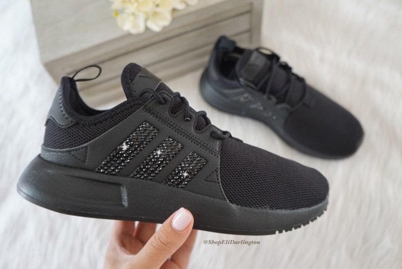 Adidas Originals XPLR Girls Womens Casual Shoes with Black Swarovski Crystals on Stripes